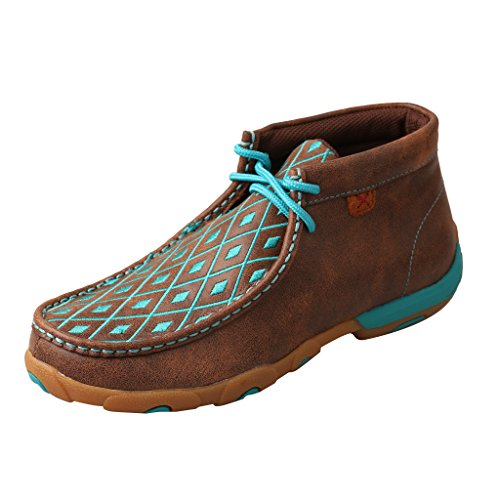 (Twisted X Women's Leather Lace-Up Rubber Sole Driving Moccasins - Brown/Turquoise)