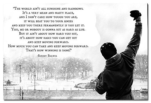 Dawn sky Rocky Balboa - Motivational Quotes Art Silk Poster