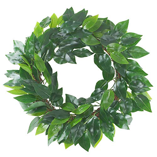 (HUAESIN Artificial Silk Greenery Wreath 17 inch Spring Summer Front Door Wreaths Faux Ficus Leaf Garland with Dried Grape Vine Base Window Farmhouse Wall Decor )