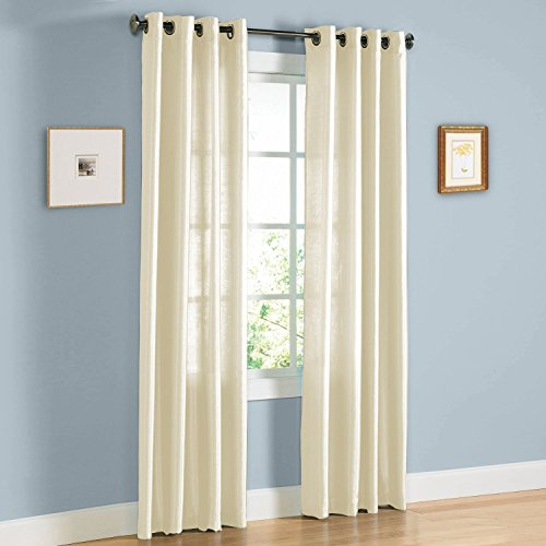 United Linens - 2 Piece window curtains (38x84) (beige) faux silk Window treatments for kitchen and drapes for living room and bedroom panels grommet