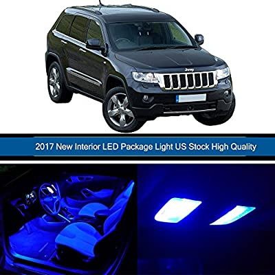 CCIYU 9 Pack Blue LED Bulb For 2005-2010 Jeep Grand Cherokee LED Interior Lights Accessories Replacement Package Kit
