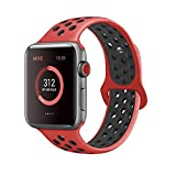 AdMaster for Apple Watch Bands 42mm,Soft Silicone Replacement Wristband for iWatch Apple Watch Series 1/2/3 - S/M Red/Black