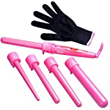 Curling Wand with Interchangeable Barrels Hair Wand Set, Zealite 5 in 1 Curling Iron Set with 5 Interchangeable Curling Wand Ceramic Barrels + Heat Protective Glove