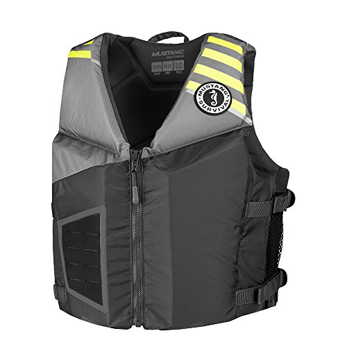 MUSTANG SURVIVAL MV3300 Rev Young Adult Foam Fishing Boating Vest, Gray-Lt Gray-Fluorescent Yellow