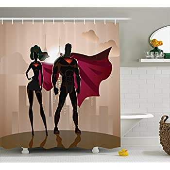 Superhero Shower Curtain Set By Ambesonne, Superwoman And Man Heroes In  City Fighting Crime Hot Couple In Costume Print, Fabric Bathroom Decor With  Hooks, ...