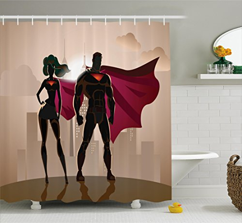 70's Costumes For Couples Ideas (Superhero Shower Curtain Set by Ambesonne, Superwoman and Man Heroes in City Fighting Crime Hot Couple in Costume Print, Fabric Bathroom Decor with Hooks, 70 Inches, Beige Brown Magenta)
