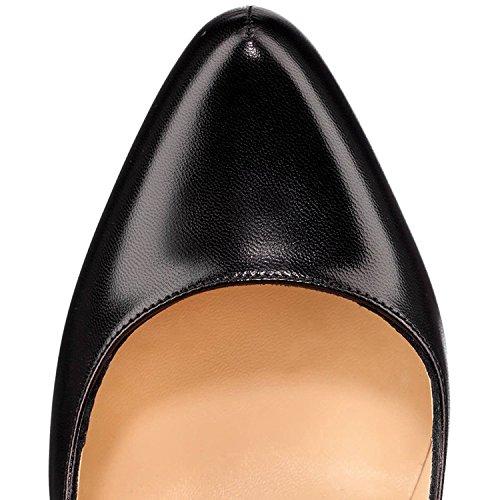MerMer Sexy Zapatos de tacon Alto Negras con plataforma y tiras punta redonda de Moda