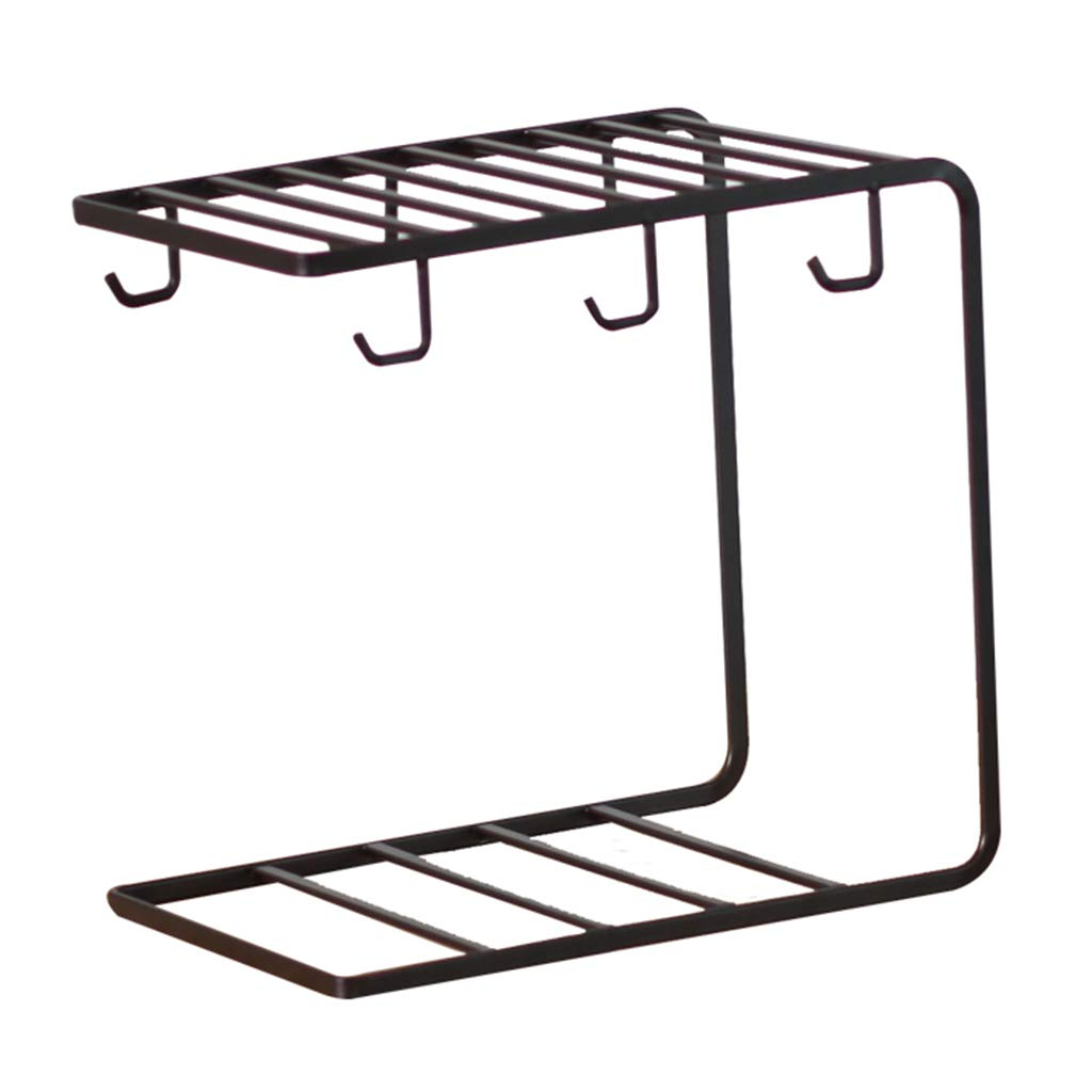 He Xiang Firm Cup Holders Cup Holder Wrought Iron Glass Holder Home Mug Hanging Cup Holder Multi-Function Storage Drain Rack (Color : Black)