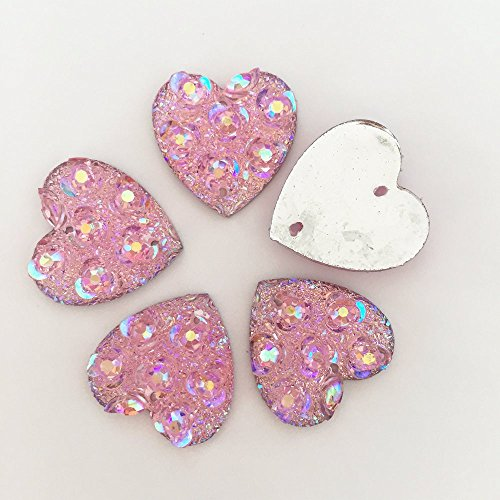 FunnyCraft (10 Pieces/Lot) Pink Ab Resin Flower Heart Shape Flatback Rhinestone Wedding Buttons 2 Hole Scrapbooking - Map Lake Woodlands