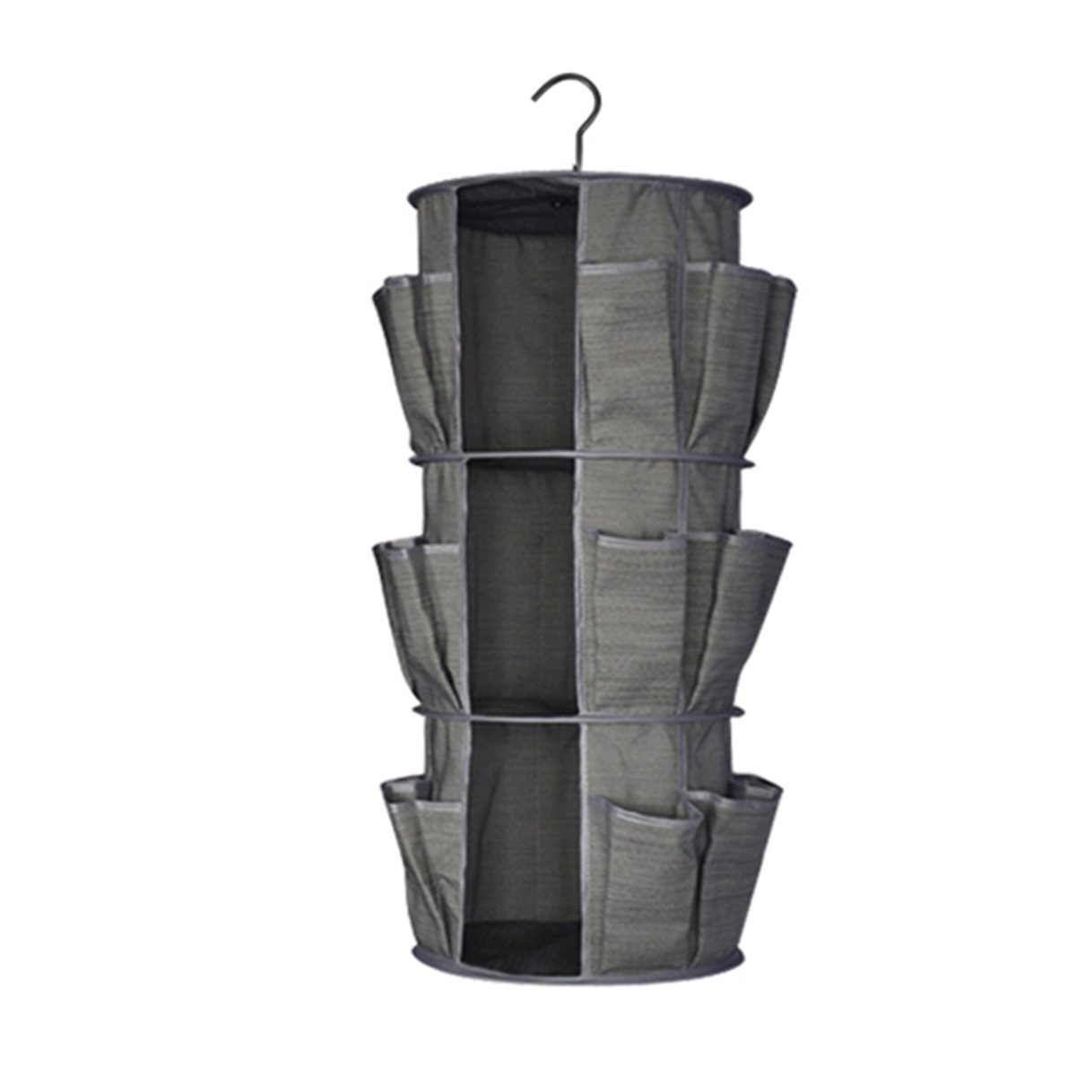ARHSSZY 3 Tiers 18 Pockets Folding Cation Closet Storage Bag 360° Carousel Wardrobe Hanging Organizer Clothing Sundries Holder Bag Sorting Hanger
