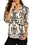Floral Shirts for Women, Ladies Loose Henley V Neck 3/4 Sleeve Work Tee Shirts Tops Taupe,2XL