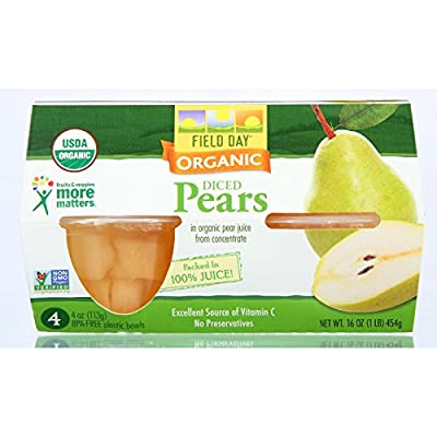 Field Day Pears Organic Diced Cup 4 oz. 4-Count (Pack of 6) from FIELD DAY