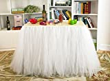 Table Skirt White Tutu Table Cover for Birthday Wedding Party Decoration Come with 5pcs Adhesive Velcro