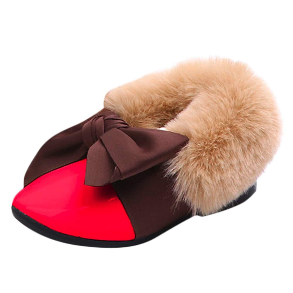 Girls Boys Warm Winter Flat Shoes Snow Boots Fur Bow Soft Anti-slip Single Sneaker