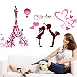 BIBITIME Romantic Paris Tower Love Valentines Day Kissing Lovers Wall Sticker Hot Air Balloon Beautiful Butterflies Vinyl Decal for Couple Bedroom Decor