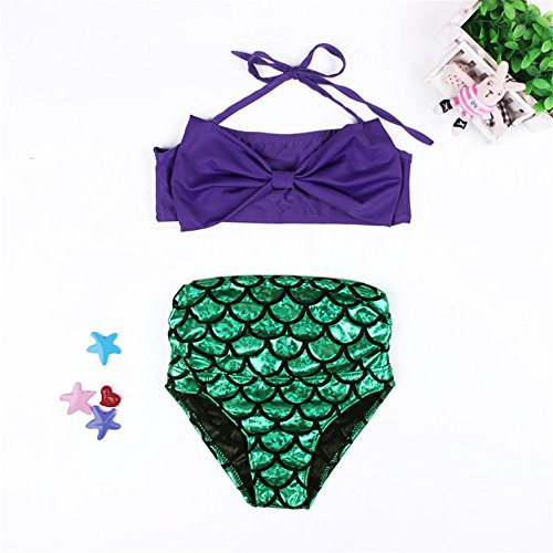 [CANCA Little Girls 2 Pcs Princess Mermaid Swimsuit Princess Costume Swimwear (6-7T)] (Princess Bride Costumes Wesley)