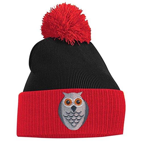 Red and Face Owl Pom Beanie Pom Black wxq61IZ