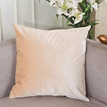 "Home Brilliant Deluxe Velvet Euro Pillow Sham Cushion Cover for Sofa, 26"" x 26"" (66cm), Beige"