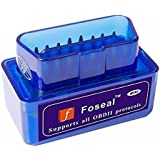 Foseal Bluetooth OBD Code Reader, Car Diagnostic Tool OBD2 Scanner Adapter for Android Devices, Wireless OBD II Car Scan Tool, Check Engine Light Code Reader, Not Fit iOS/iPhone/iPad, Blue/Mini