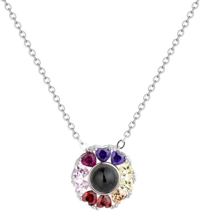 LAOGEFJ Collar S925 Collar De Plata Temperamento Femenino Dulce Colorido Diamante Anillo Idioma Manga Cadena Temperamento Cadena De Clavícula Simple Hembra