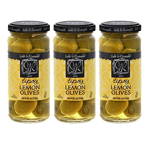 Sable & Rosenfeld Cocktail Garnishes - Earth Kosher - Gin Tipsy Lemon Olives - 3 Pack (5 oz ()