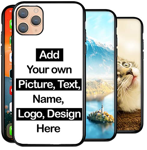 Personalised Phone Case for iPhone 12 Pro Max, Add Your Text, Picture, Designs, Business Logo on Shockproof Bumper back Cover Customised Gift idea for Birthday, Wedding, Anniversary, Special Moments