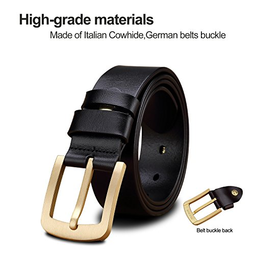 LUCIANO Elegant Genuine Leather Cowhide Belt Brass Smooth Buckle Dress Belts for Men