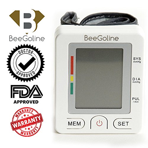 BeeGoline Wrist Blood Pressure Monitor Accurately Detects Blood Pressure Heart Rate & Irregular Heartbeat Cardiologist Approved Large LCD 2 User Selection 180 Memory Easy to Operate & Store White
