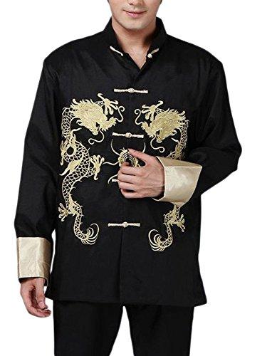 BTRC Mens Oriental Tai Chi Kung Fu Asian Chinese Top Jacket Coat (USA XL - Tag says XXXL, Black)
