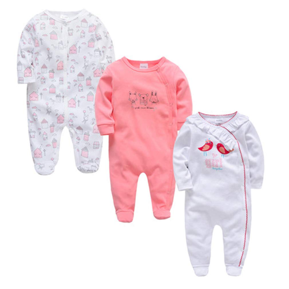 LONELY CAR New 3 4 Pcs//Lot Baby Boy Newborn Jumpsuit Long Sleeve Cotton Pajamas 0-12 Months Rompers