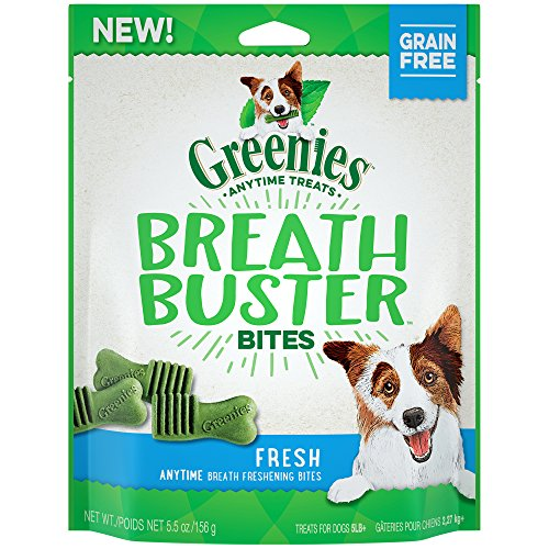 - GREENIES BREATH BUSTER Bites Fresh Flavor Treats for Dogs 5.5 Ounces
