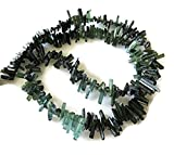 Beautiful Raw Green Tourmaline Sticks, Natural Tourmaline Raw Crystals, 8mm, 15 Inch Strand, GDS712