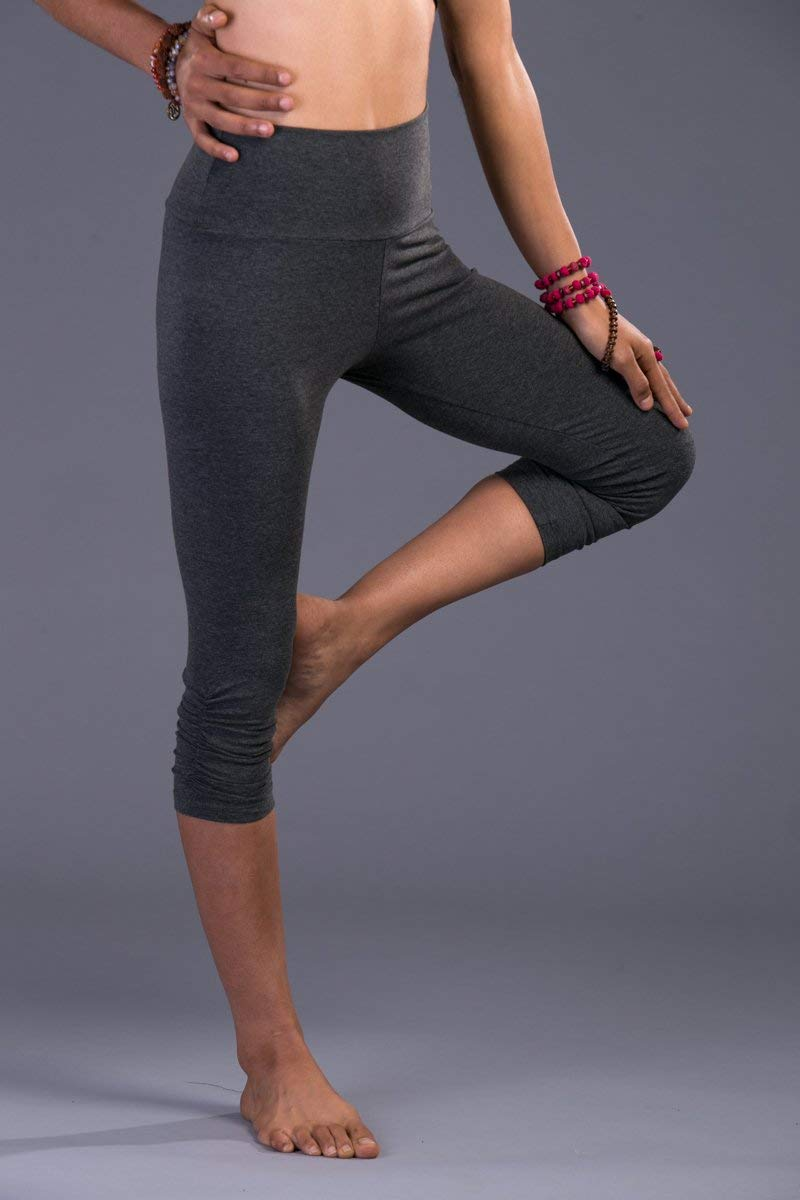 Handmade Gray Cotton Lycra Women's Yoga Capri Tights Pants, Crop Leggings Bohemian Activewear Clothing