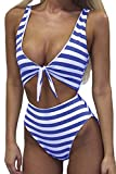 #9: Haloon Womens Spaghetti Strap Tie Knot Front Cutout High Waist One Piece Swimsuit