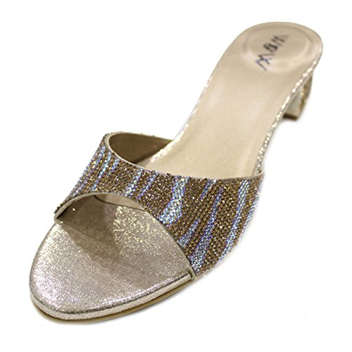mit W Größe Slip Damen Party Gold Fashion auf W amp; Sandale Abend Laser Flach Komfort Frauen Schuhe Tfw17q