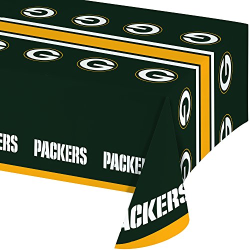 Creative Converting Officially Licensed NFL Plastic Table Cover, 54x102, Green Bay Packers