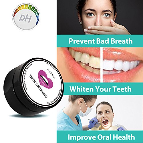 Teeth Whitening, Keethem Activated Coconut Charcoal Teeth Whitener Powder Toothpaste(2.1oz) with 2 Charcoal Toothbrushes (Professional-grade Home Teeth Whitening Kit)
