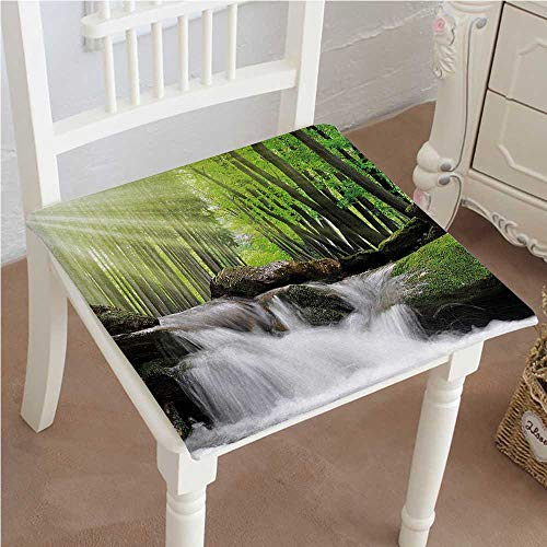 (Chair Seat Pads Cushions Waterfall Tiny Surrounded by Green Oak Trees with Sunshine Beams Green and White Square Car and Chair Cushion / Pad With Ties, Soft, For Indoors Or Outdoor 24