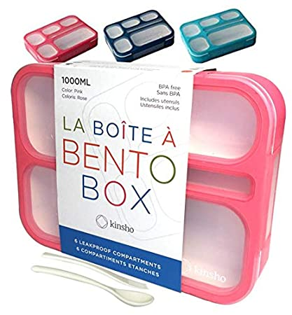 9a87799b85e8 Bento Lunch-box Containers for Kids, Women, Adults. 6 Compartment Leakproof  School Bentobox   Portion Container Boxes   BPA-Free   1 Pink Set