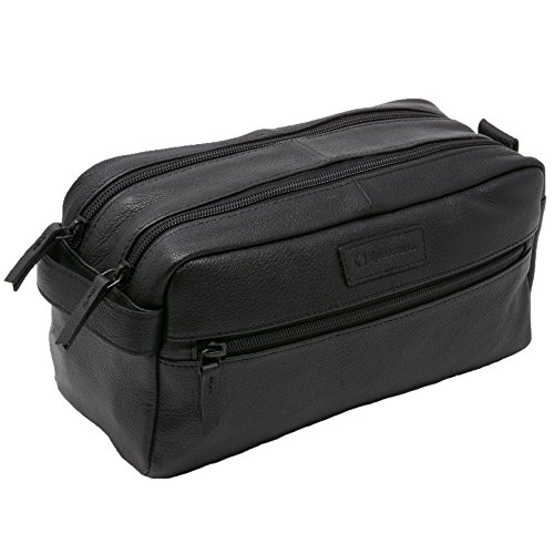 Alpine Swiss Sedona Toiletry Bag Genuine Leather Shaving Kit Dopp Kit Travel (Travel Shaving Kit)