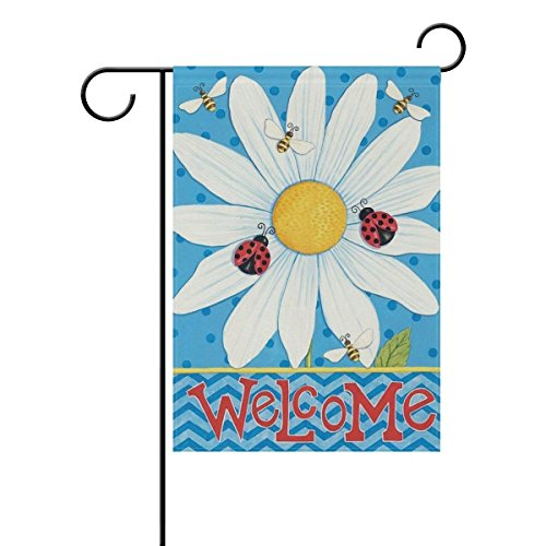 Jagfhhs Welcome Honey Bees Daisies Spring Summer Flower Butterfly Beetles Garden Flag Stand Size 12.5x18 Durable Not Fading Priny£¨Two Sides£