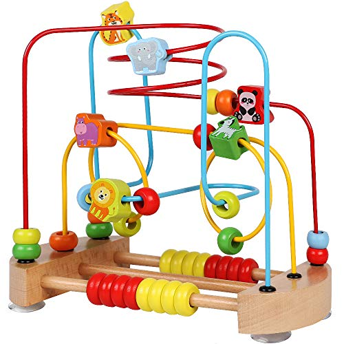 ToyerBee Bead Maze, Wooden Toys with Animals Graphics, Educational Abacus Beads Circle Toys, Colorful Roller Coaster Game, Gift for Children Toddlers Kids Boys Girls