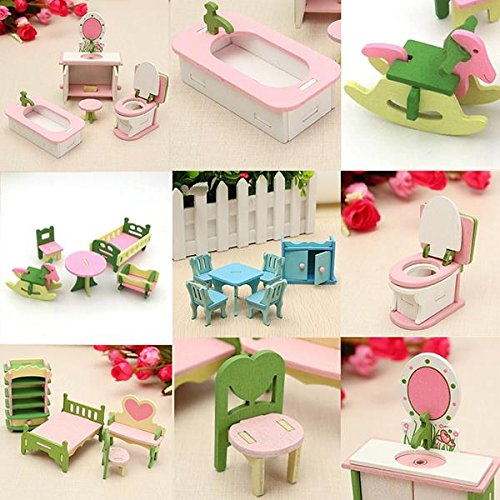 HITSAN 4 Sets of Delicate Wood Dollhouse Furniture Kits for Doll House Miniature One Piece by HITSAN (Image #5)