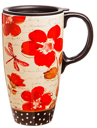17 oz. Floral Symphony Ceramic Latte Travel Cup with Gift Box (Ceramic Coffee Cups Travel compare prices)