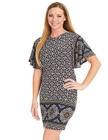 CTC WDR1362 Womens Print Cowl Neck Ruffle Short Sleeve Dress M YELLOW_NAVY - Together Short Sleeve Dress