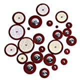 Kmise A8148 Professional 25 Piece Red Leather Tenor Saxophone Pads with Resonators Woodwind Sax Parts