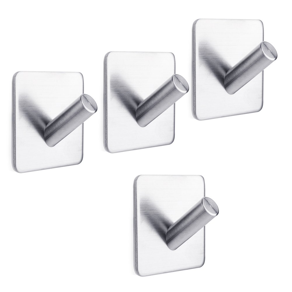 Self Adhesive Hooks, 3M Stainless Steel Hooks Small Light Duty Wall Hooks Hanger for Bathroom, Kitchen, Toilet, Behind the Door (Single head Set of 4) by Gino