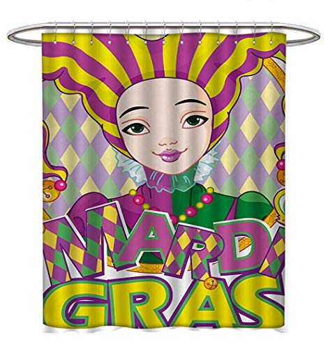 Anhuthree Mardi Gras Shower Curtain Collection by Carnival Girl in Harlequin Costume and Hat Cartoon Fat Tuesday Theme Satin Fabric Sets Bathroom W48 x L84 Yellow Purple Green for $<!--$34.30-->