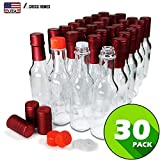 Hot Sauce Woozy Bottles Empty 5 Oz Complete Sets of Premium Commercial Grade Clear Glass Dasher Bottle with Shrink Capsule, Leak Proof Screw Cap, Snap On Orifice Reducer Dripper Insert (Red 30 Sets)