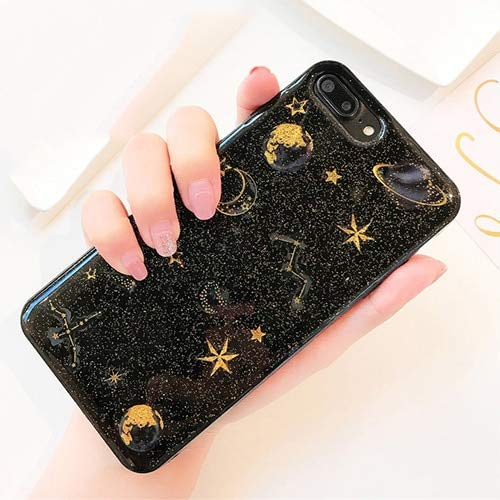 Fitted Cases - Epoxy Phone Case for iPhone Xs Xr Xs Max X 5 5s 6 6s 7 8 Plus X Planet Star Transparent TPU Phone Back Cover Cases New! - for iPhone Xs_Black - Waterproof Heater Oil Band Bags